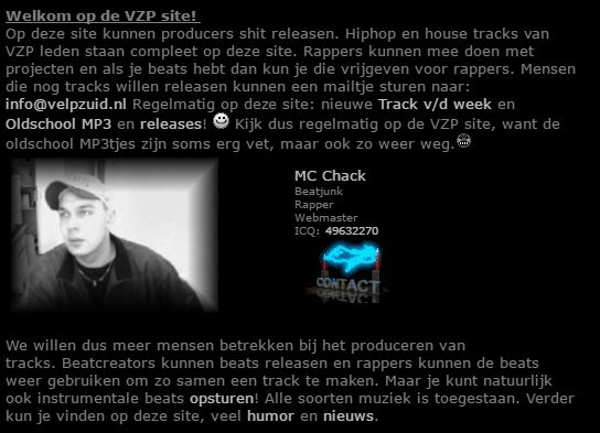 Screenshot velpzuid website 2001